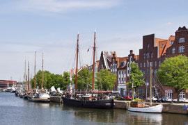 Museumshafen an der Untertrave in Lübeck