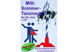 Plakat Mittsommer-Tanz-Nacht im Strandbahnhof Travemünde