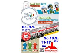 Plakat Tage des Gesellschaftspiels - Strandbahnhof Travemünde