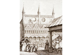Der Markt in Lübeck, Carl Julius Milde © Museum Behnhaus Drägerhaus, die Lübecker Museen