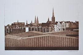 Peter Hellmundt, Lübeck-Ansicht von Osten, 1982 © Hansestadt Lübeck, Kulturbüro