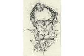 Peter Rühmkorf, gezeichnet von Günter Grass © Günter und Ute Grass Stiftung Steidl Verlag