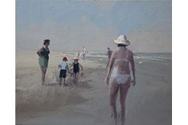Ulf Petermann, Am Strand, 2016, Öl auf Karton und Holz, 44x50 cm