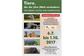 """Plakat Ausstellung """"Tiere, die die (Um-)Welt verändern"""" im Eiszeitmuseum"""