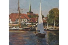 Till Warwas, Segler im Hafen, Neustadt, 2016, Acryl auf Leinwand, 45 x 50 cm © Klaus Warwas, Bremen