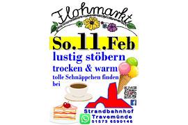 Plakat Flohmarkt Februar 2018 im Strandbahnhof Travemünde