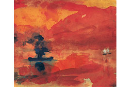 Emil Nolde, Meer mit Dampfer, Aquarell, 193x245 mm © Nolde Stiftung Seebüll