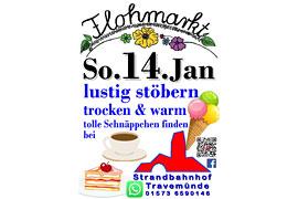 Plakat Flohmarkt Januar 2018 im Strandbahnhof Travemünde