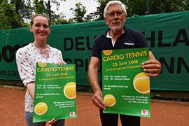 Anke Stecher und Jochen Torpus werben für Cardio-Tennisveranstaltung © Michael Koch