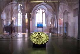 Siegelstempel der Sankt Knuds Gilde in Odense, Leihgabe des Dänischen Nationalmuseums Kopenhagen, © Europäisches Hansemuseum, Foto: Olaf Malzahn
