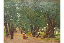 Leonhard Boldt, Park der Villa Borghese, 1908, Öl auf Leinwand © Sparkassen-Kulturstiftung OH