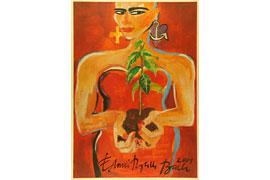 Elvira Bach - Selbst mit Pflanze © VG Bild-Kunst