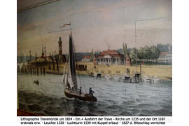 Lithographie Travemünde um 1824 - Seebadmuseum Travemünde