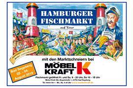 Plakat Hamburger Fischmarkt 2019 bei Möbel Kraft in Bad Segeberg