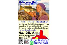 Plakat Mehr vom Meer mit Frau Herr © Strandbahnhof Travemünde