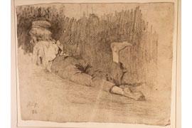 Olga Weiß – Liegender Knabe 1886 – Bleistift auf Papier