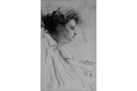 Josef Engelhart, Porträt einer Frau, 1894, Bleistift auf Papier