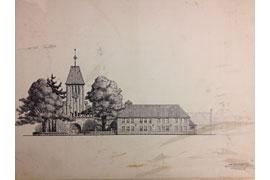 Carl Mühlenpfordt – Schule und Kirche in Kücknitz Entwurf 1910