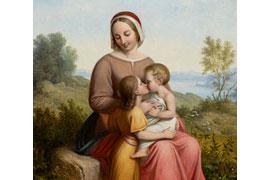 Johann Ludwig Lund – Jungfrau Maria mit Jesuskind und Johannesknaben 1832, Sammlung Hirschsprung, Detail