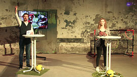 Revuefilm MHL Sportstudio_Moderatoren Hilko Engberts und Sarah Sieprath © MHL